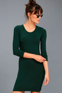 Obey Easton Forest Green Long Sleeve Bodycon Dress 1