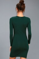 Obey Easton Forest Green Long Sleeve Bodycon Dress 3