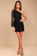 Come to Play Black Lace One-Shoulder Dress 2