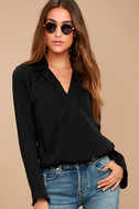 Down to Business Black Long Sleeve Wrap Top 1