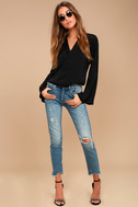 Down to Business Black Long Sleeve Wrap Top 2