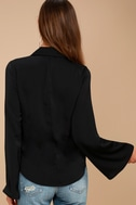 Down to Business Black Long Sleeve Wrap Top 3