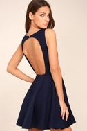 Gal About Town Navy Blue Backless Skater Dress 1
