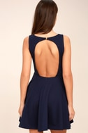Gal About Town Navy Blue Backless Skater Dress 3