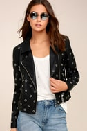 nANA jUDY Blur Black Leather Grommet Moto Jacket 2
