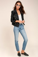 nANA jUDY Blur Black Leather Grommet Moto Jacket 1