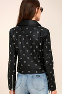 nANA jUDY Blur Black Leather Grommet Moto Jacket 3