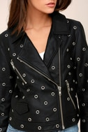 nANA jUDY Blur Black Leather Grommet Moto Jacket 4