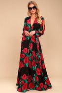 Strike a Rose Black Floral Print Long Sleeve Maxi Dress 1