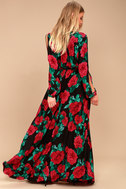 Strike a Rose Black Floral Print Long Sleeve Maxi Dress 3