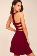 Call Back Wine Red Backless Skater Dress 3