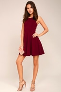 Call Back Wine Red Backless Skater Dress 1