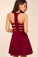 Call Back Wine Red Backless Skater Dress 2