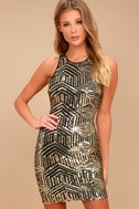 Royal Flush Black and Gold Sequin Bodycon Dress 1