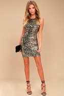 Royal Flush Black and Gold Sequin Bodycon Dress 2