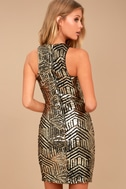 Royal Flush Black and Gold Sequin Bodycon Dress 3