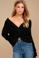 Heart Throb Black Cropped Knit Sweater 1