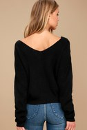 Heart Throb Black Cropped Knit Sweater 3