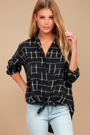 Cozy Nights Black Plaid Flannel Knotted Top 1