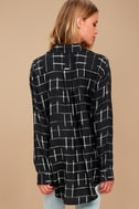 Cozy Nights Black Plaid Flannel Knotted Top 3