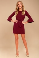 Last Love Song Burgundy Tie-Waist Dress 2