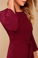 Last Love Song Burgundy Tie-Waist Dress 4