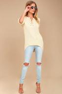 Francesca Cream Knit Lace-Up Sweater 2