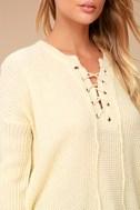Francesca Cream Knit Lace-Up Sweater 4