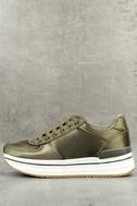 Stacey Khaki Satin Sneakers 1