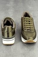 Stacey Khaki Satin Sneakers 2