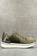 Stacey Khaki Satin Sneakers 3