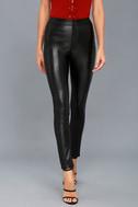 No Pocket Spray Black Vegan Leather Pants 2