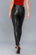 No Pocket Spray Black Vegan Leather Pants 3