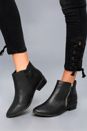 Pecos Black Leather Ankle Boots 4