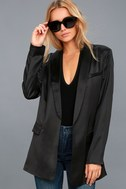 Stylish Pursuit Black Satin Blazer 2