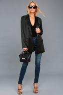 Stylish Pursuit Black Satin Blazer 1