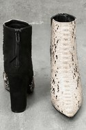 Tiffany Nude and Black Snake Print Ankle Booties 4