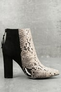 Tiffany Nude and Black Snake Print Ankle Booties 2