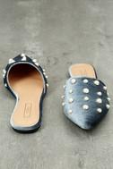 Vivika Blue Velvet Pearl Pointed Toe Flats 3