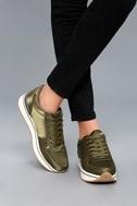 Stacey Khaki Satin Sneakers 5