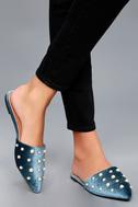 Vivika Blue Velvet Pearl Pointed Toe Flats 2