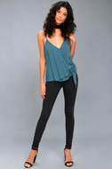 Take Note Teal Blue Wrap Top 2