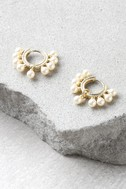 Loren Gold and Pearl Earrings 1