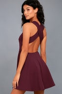 No Drama Plum Purple Backless Skater Dress 3