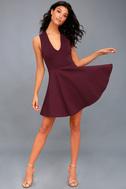 No Drama Plum Purple Backless Skater Dress 2