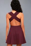 No Drama Plum Purple Backless Skater Dress 4