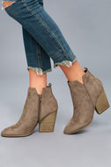 Kennedy Light Cement Suede Ankle Booties 1
