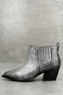Cardinal Pewter Leather Ankle Booties 1