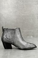 Cardinal Pewter Leather Ankle Booties 2