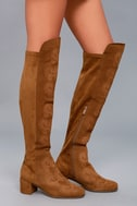 Chenoa Tan Suede Leather Embroidered Over the Knee Boots 2